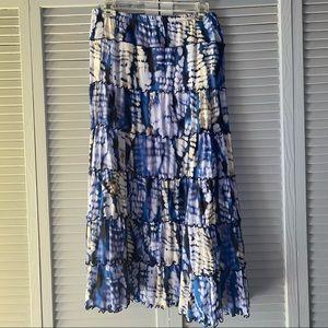 Blue Boho Peasant Skirt